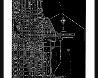 Chicago Vintage Map - Chicago - Black - Print - Poster