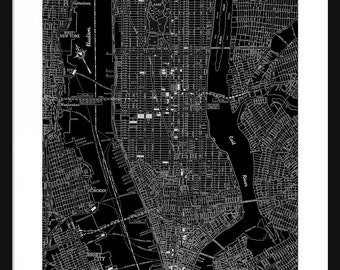 New York Vintage Map - New York - Black - Print - Poster