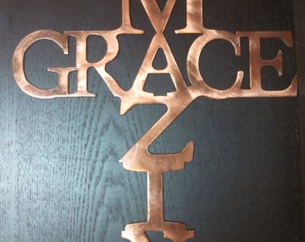 Amazing Grace Metal Artwork finished in Copper