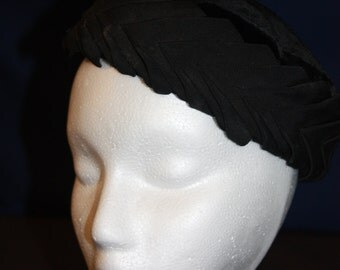 Vintage Pillbox Hat Black