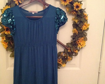 Electric blue sequined tunic