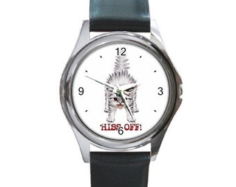 Hiss Off   Round Metal funny Watch