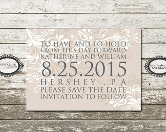 Simple Elegant Save the Date Wedding Digital Download File
