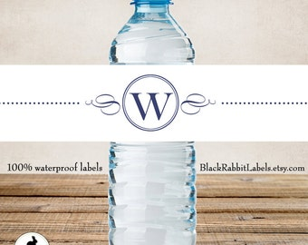 Customized Water Bottle Labels - 100% Waterproof - Polyester Plastic Labels - Company Logo, Simple design, Wedding Favor