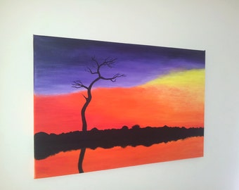 Colorful abstract acrylic painting. 30 x 70 cm.