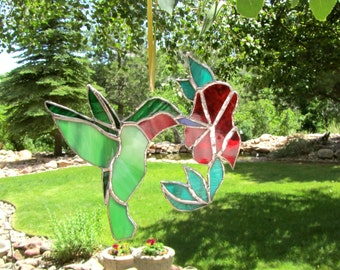 Stained Glass Hummingbird with Flower