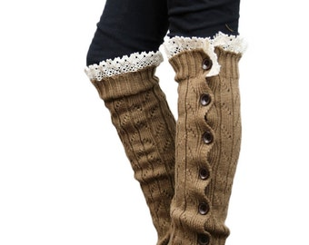 Girls Leg Warmers Brown by Modern Boho
