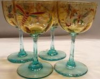 Four Vintage Bohemian Wine Glasses with Insects. This price is for all four glasses!