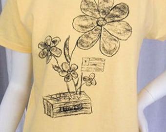 Chalk Flower and Flag tshirt screen printed