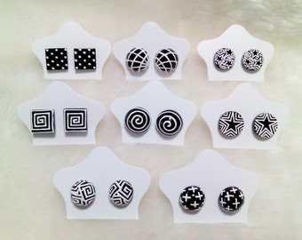 Earring Black & White  3 D  handpaint  in Thailand (8 pair)