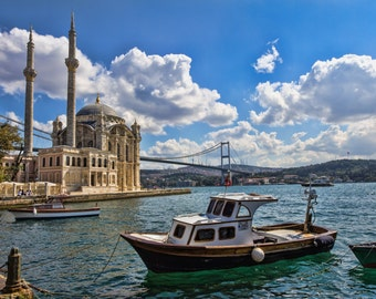 Ortakoy Mosque, Istanbul, Turkey, Landscape Photography, Wall Art