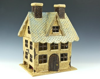 A Little French Tea House // Ceramic Sculpture // Architectural Sculpture // Canister // Tea House // House // Clay House// House // Cottage