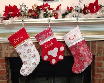 Set of 3 Custom Christmas Stockings, PERSONALIZED Christmas Stocking, Family Christmas stockings, Felt Christmas stockings Personalized