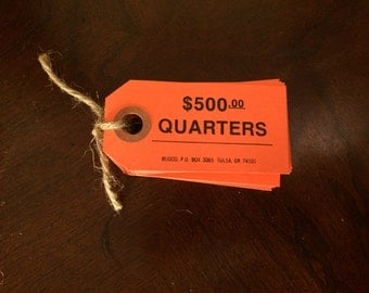 "Vintage Orange Paper Tags/Money Tags/Price Tags/Gift Tags/One Blank Side/One Side with Pre-printed ""Quarters 500 Dollars"" Paper Crafting"