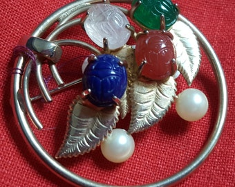 Amazing ~ Stylized ~ Circular Pin with Carved Semi Precious Stones and Accented with Pearls