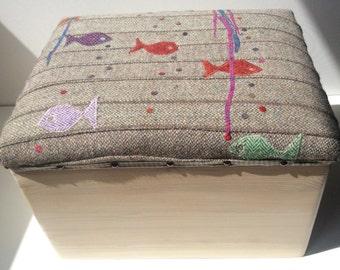 Toy box - storage box - Harris Tweed seat - Under the sea