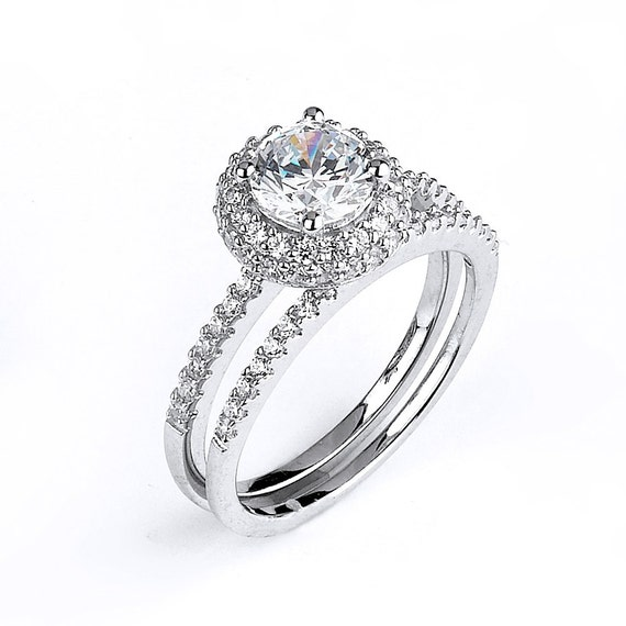 Simple Halo 1 Carat CZ Solitaire Engagement Rings Matching