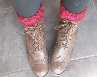 Handmade Cable Pattern Pink Knitted Ankle Boot Cuffs