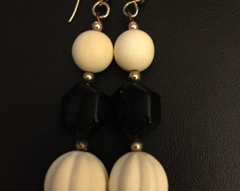 Ivory and Black Onyx Earrings