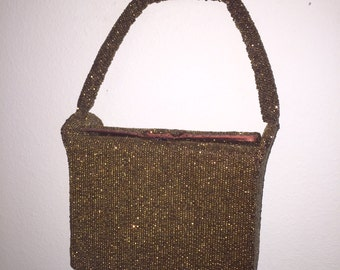 Dellil Copper Beaded Square Boxy Handbag with Coin Purse