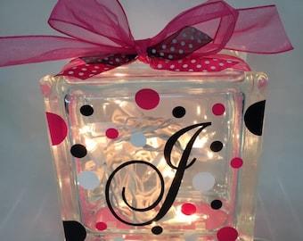 Custom Initial Glass Block Light