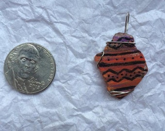 Wire Wrapped Hand Painted River Glass Pendant (Tribal)