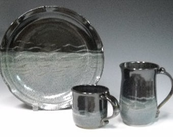Large and Small Mug and Plate in Dark Blue Glaze