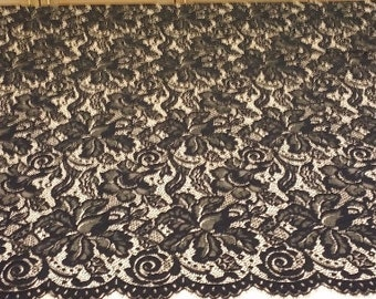 Black lace fabric, Wedding lace, Gorgeous black chantilly lace fabric