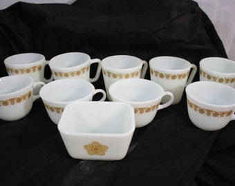 Pyrex Butterfly Gold 1 Butter Dish and Cups