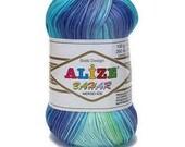 Batik cotton yarn BAHAR BATIK  Alize Knitting supplies Crochet thread Batik design Summer soft yarn Ombre color  Multicolor