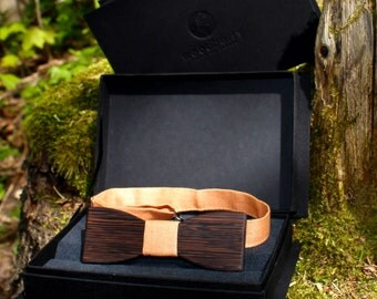 "Wooden bow tie - ""MONTANA"" orange linen"