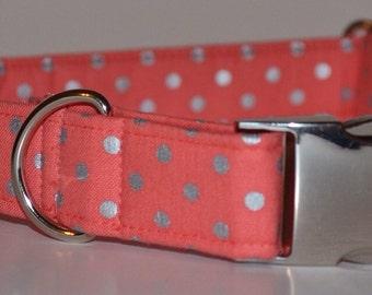 Ashley. Female Dog Collar, Coral Metallic Dots, Metal Hardware