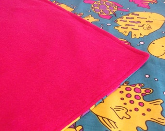 "Handmade Kids Reversable with Fleece ""Tropical"" Blanket and Pillow Case"