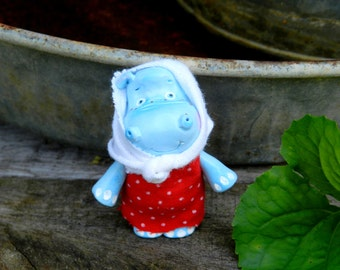 Sale polymer clay doll hippo clay figurine Hippo in head scarf figurine