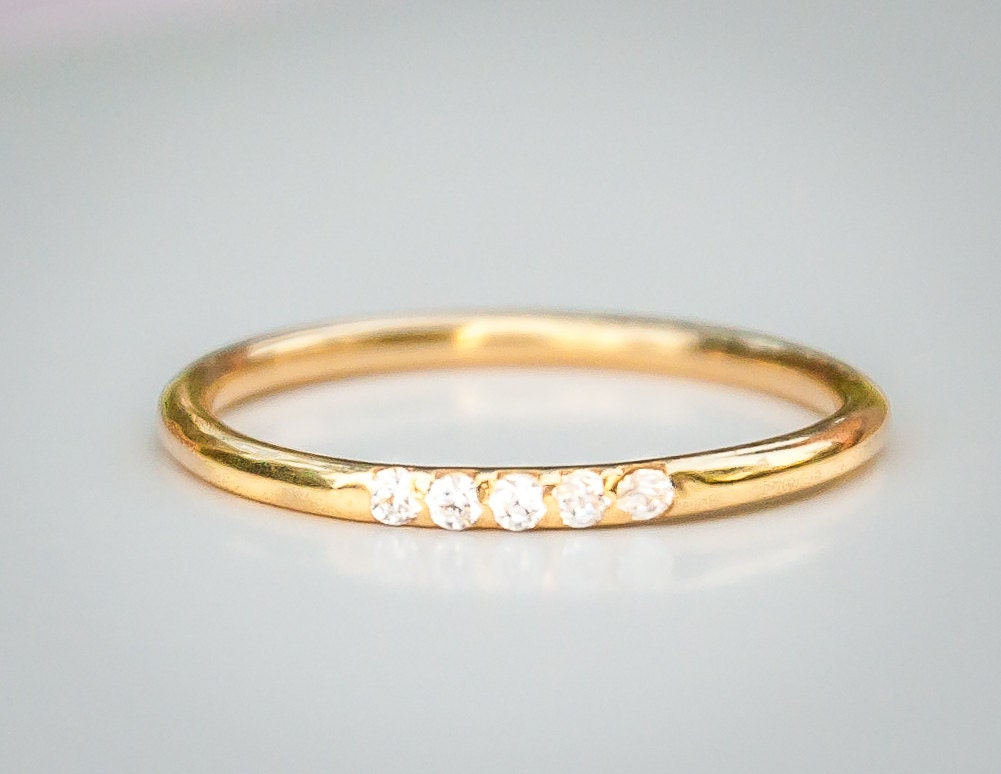 Thin Diamond Wedding Ring Wedding Band by milajewellerydesign