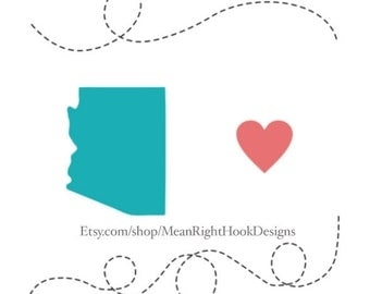 Arizona SVG state silhouette, heart svg, and dotted lines INSTANT DOWNLOAD vector files for cutting machines - svg, png, dxf, eps
