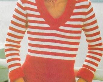 V-neck Pullover - knitting pattern