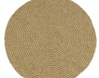 100cm Clotted Cream Felt Ball Rug