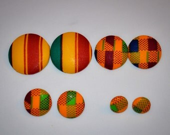 "The ""Eniola"" 4 piece Kente Button Earring set. Small, Medium, Large & Extra Large"
