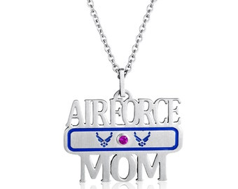 Airforce Mom Necklace, Airforce Mom Pendant With Personalized Birthstone In Stainless Steel, Airforce Mother Necklace, Military Mother Gift
