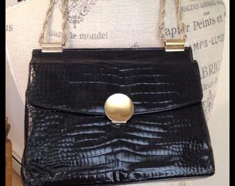 Vintage Leather Handbag - Classic Purse - Textured Leather  - Black