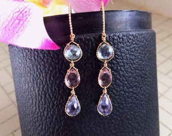 Gold Filled Wire Wrapped Multi-Colored Mystic Quartz Triple-Drop Linear Earrings