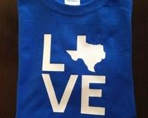 LOVE T-shirt - Texas shirt, any state, custom shirt, state gift, Texas souvenir, state T-shirt, Texas gift, southern T-shirt, glitter shirt