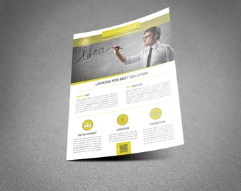 INSTANT DOWNLOAD - Corporate Flyer Template - options add photoa and change text or eaven colors