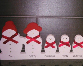 Personalised Wooden Snowman Family - 2 adults 3 children - Christmas Decoration - 15cm x 33.5cm
