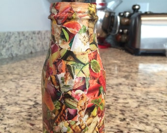 Decoupage Kitchen Vase or Utensil Holder