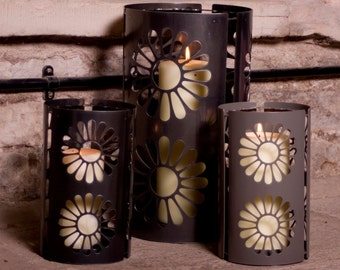Daisy Round Metal Lanterns (Indoor and Outdoor)