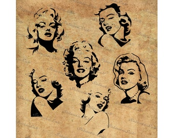 Digital SVG PNG Marilyn Monroe inspired, silhouette, vector, clipart, instant download