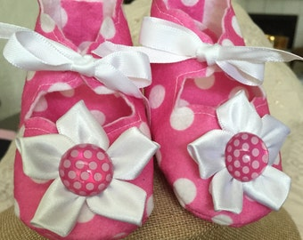 Pink And White Polka Dot Baby Booties