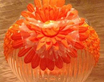 White And Orange Headband
